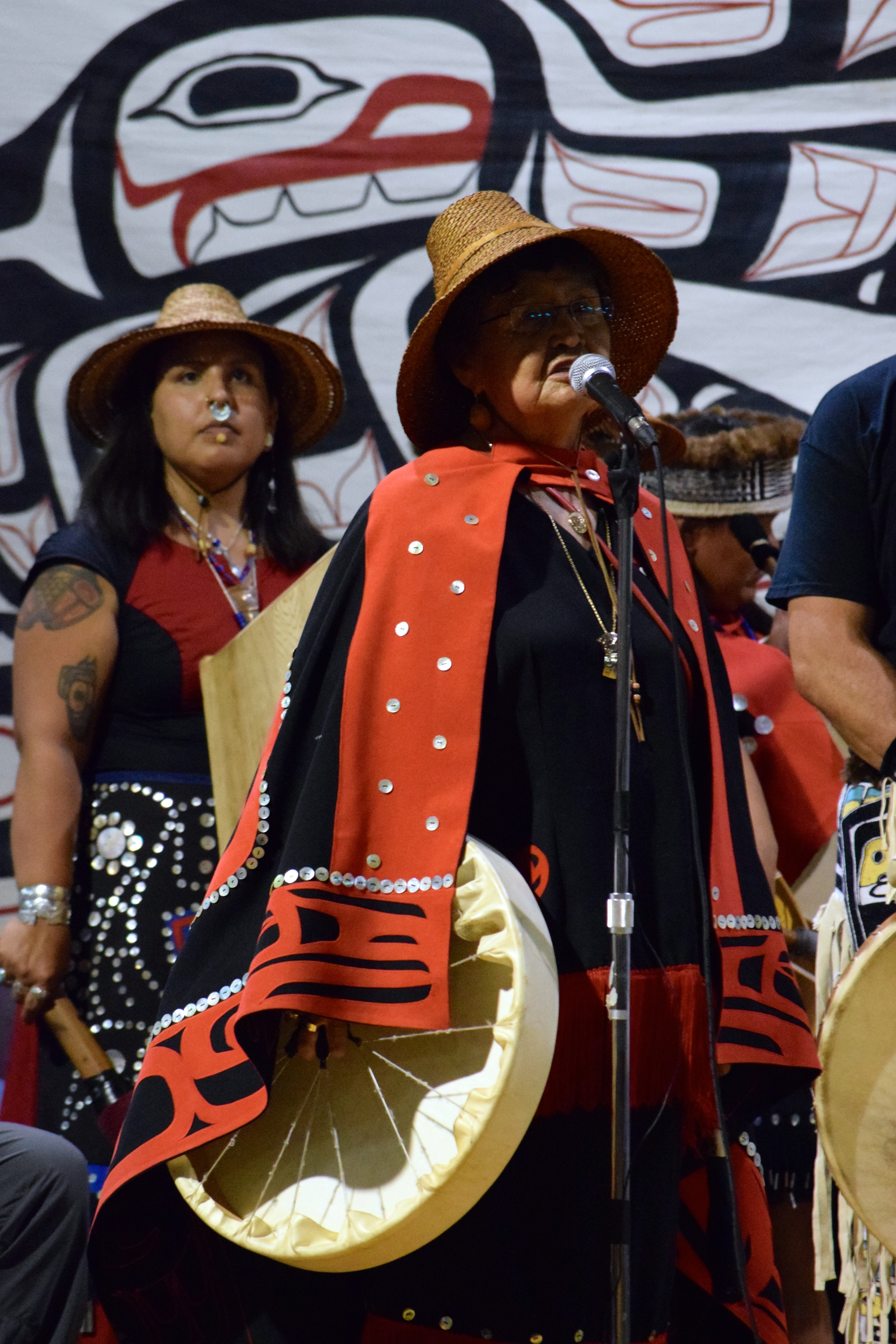 9 Haida sing before potlatch witnesses