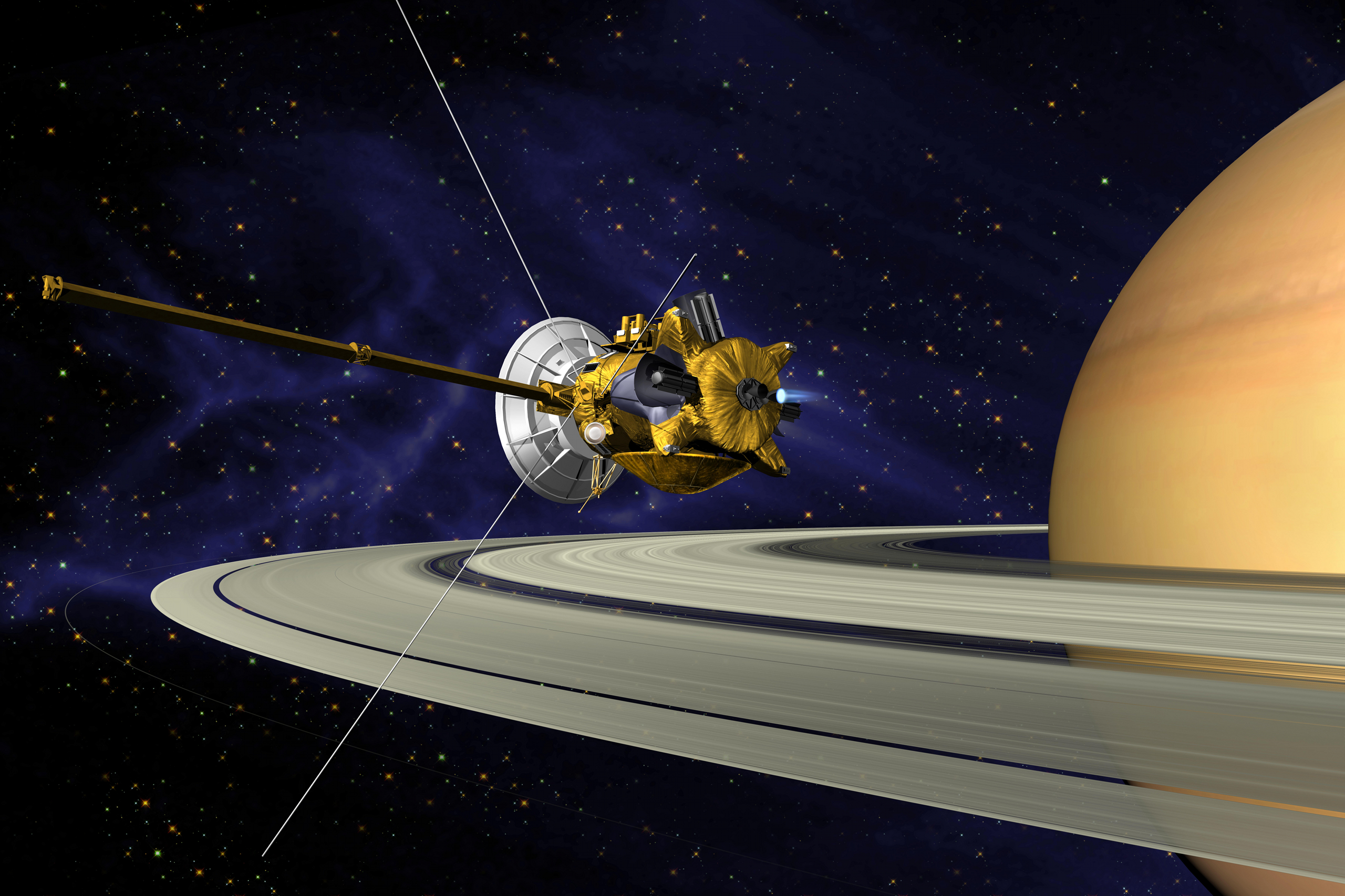 An artist's interpretation of the Cassini spacecraft maneuvering close enough to graze Saturn's rings.