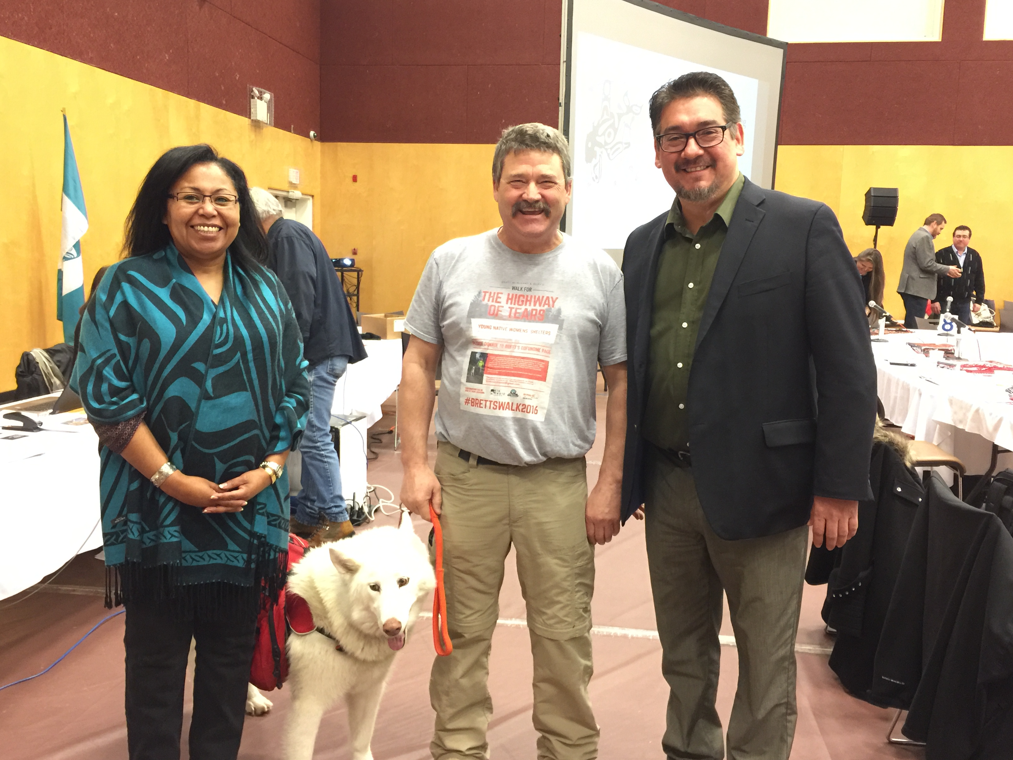 Cheryl Casimer (FNS Political Executive), Kura, Brett Merchant and Robert Phillips (FNS Political Executive) at the First Nations Summit (photo provided by FNS)