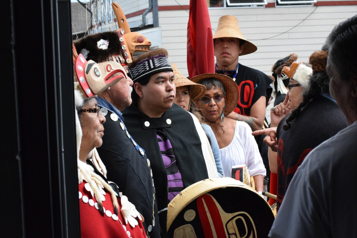 Heiltsuk welcome Haida to enter the potlatching hall at Waglisla (Bella Bella) in July.