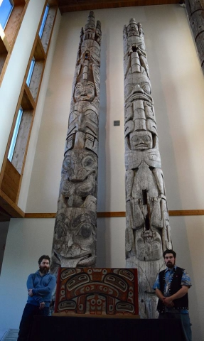 "Haida carvers Gwaai and Jaalen Edenshaw unveil their masterwork, ""The Great Box"", at Sahlinda Naay (the Haida Gwaii Museum). The red-cedar bentwood box was replicated from an centuries-old design."