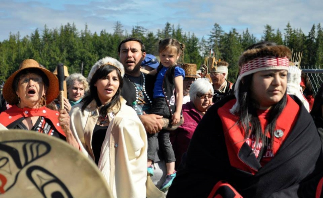 Heiltsuk welcome Haida as they disembark at Waglisla (Bella Bella) to 'waahlgahl (potlatch) in July. Photo: Molly Clarkson