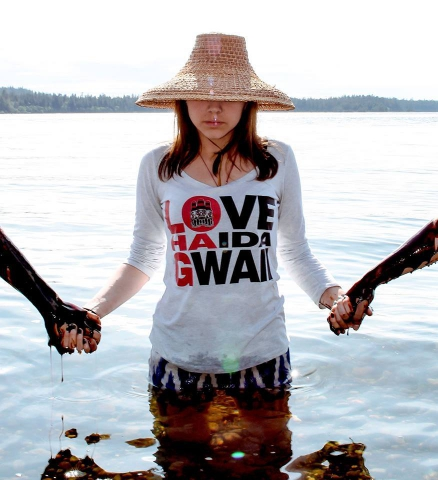 Haida youth demonstrate to protect the Islands at the Haida Gwaii Youth Assembly in May. Photo: Molly Clarkson