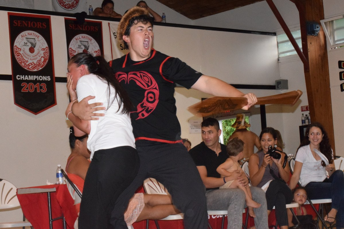 Haida dancers get serious at a feast with Maori visitors. Photo: Xaaxuujuuwaay