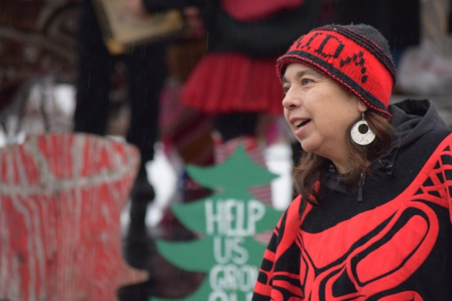 Haida Woman, Queen Charlotte Village, Spirit Square, Sustainable forestry, Haida Gwaii, forestry, BCTS, British Columbia Timber Sales