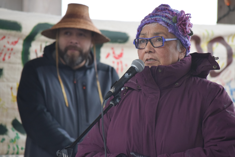 Haida woman, Haida Gwaii, Queen Charlotte Village, Spirit Square, forestry, BCTS, British Columbia Timber Sales