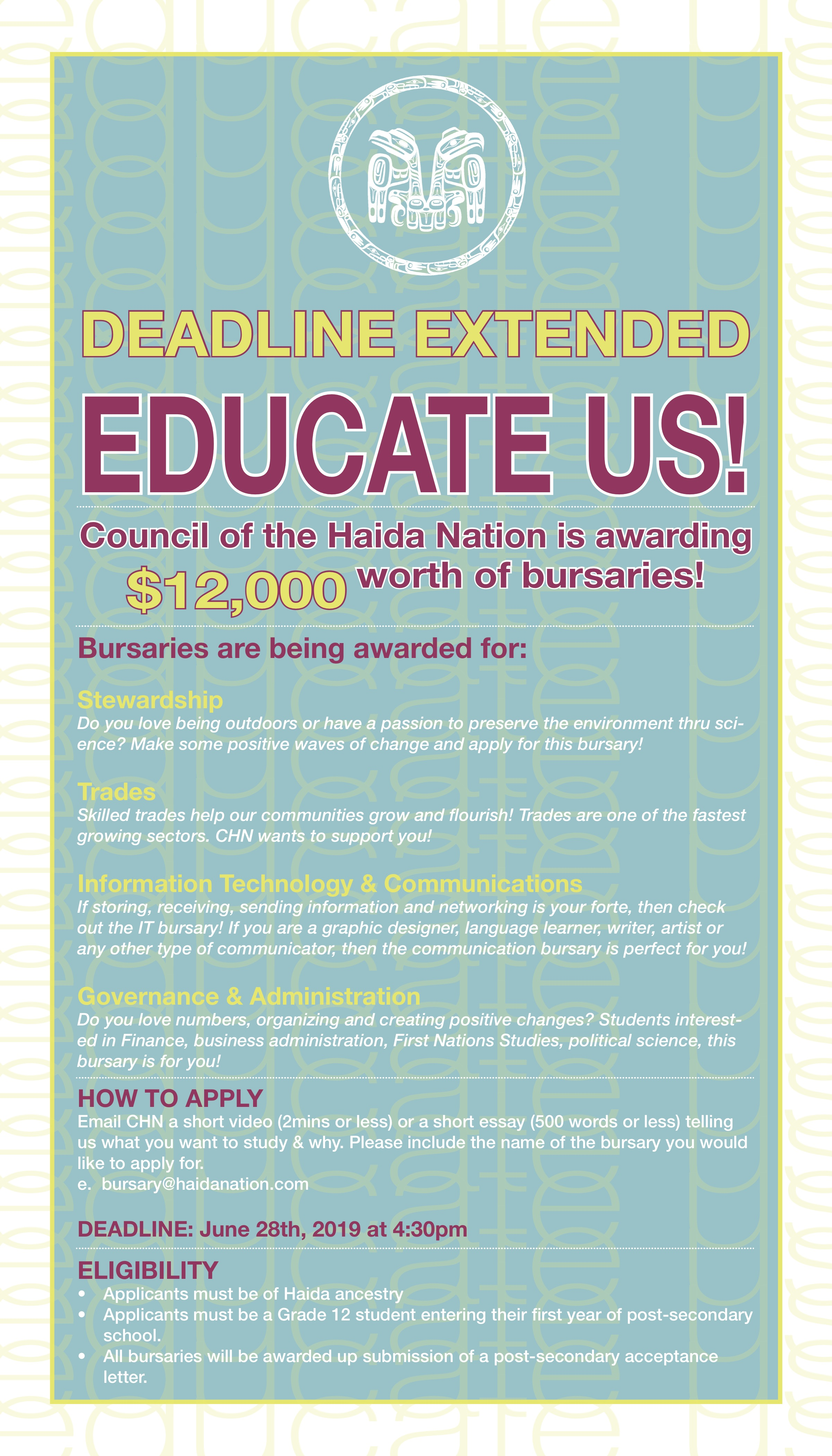 Educate Us! – CHN Bursaries EXTENDED – Council of the Haida Nation