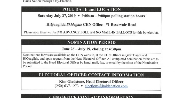 CHN Notice of By-Election HlG̲aagilda Skidegate By-Election